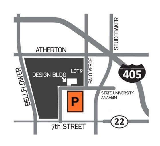 Parking Map for the Design Building found on State University Drive on the east of campus.
