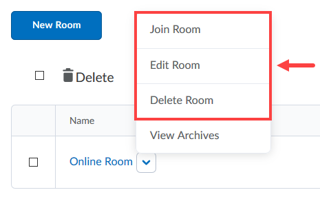 Online Room options