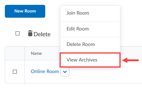 View archives option