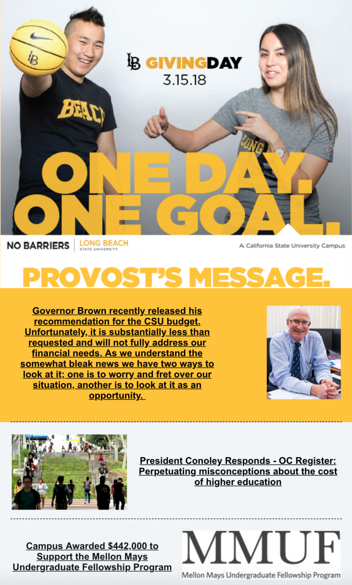 Provost Message snippet