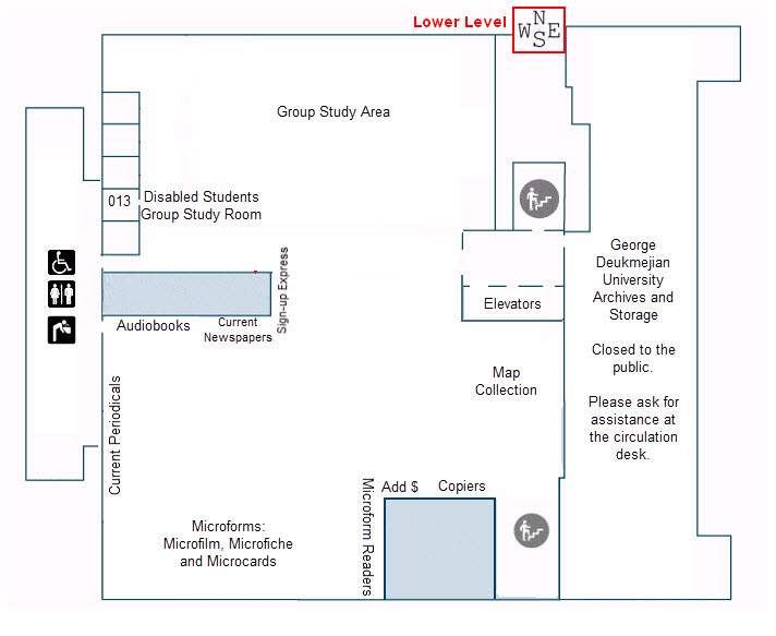 Map of the Lower Level of the University Library