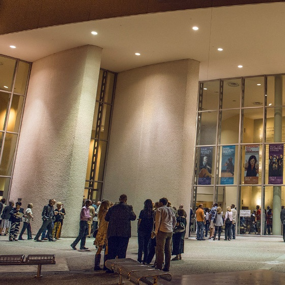 A crowd gathered outside of the Carpenter Performing Arts Center