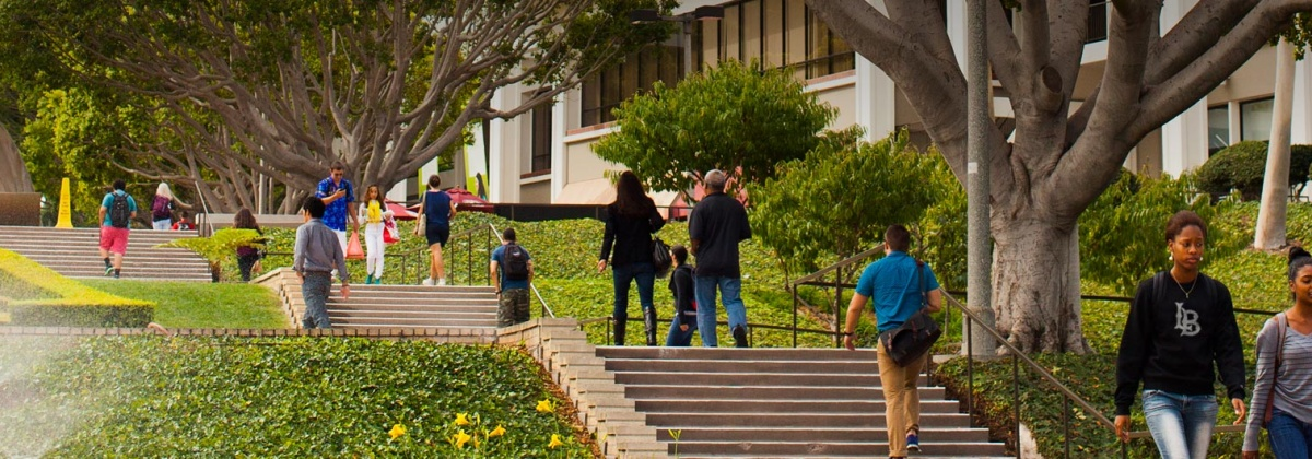 students walking up stairs near USU