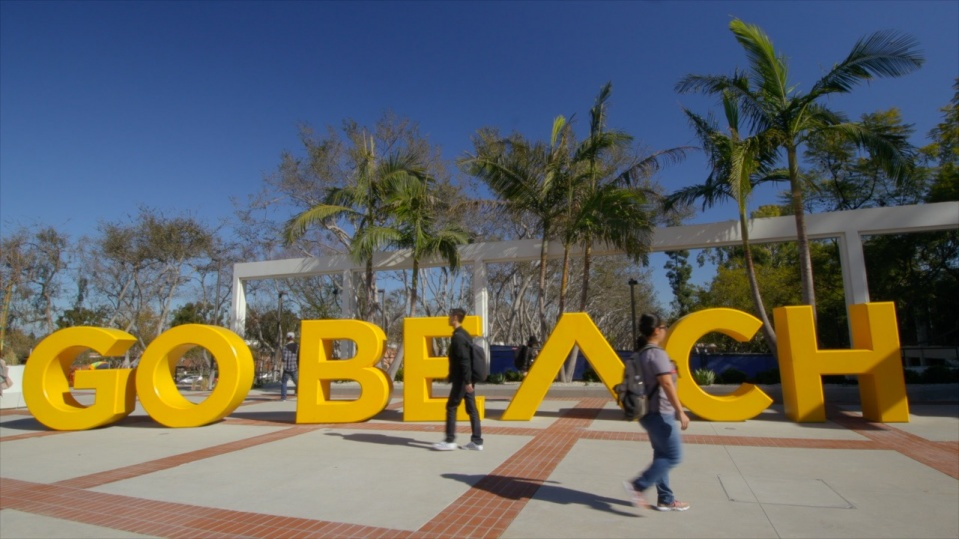 New GO BEACH letters at campus turnaround.
