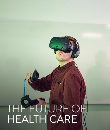 students try out VR headsets