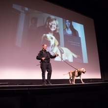 Avery the detection dog makes an appearance on stage