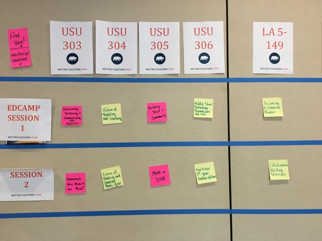 Edcamp Session Board with session topics