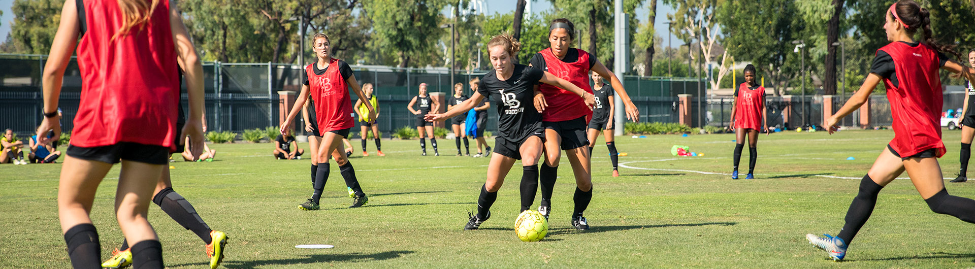 Womens soccer team practices