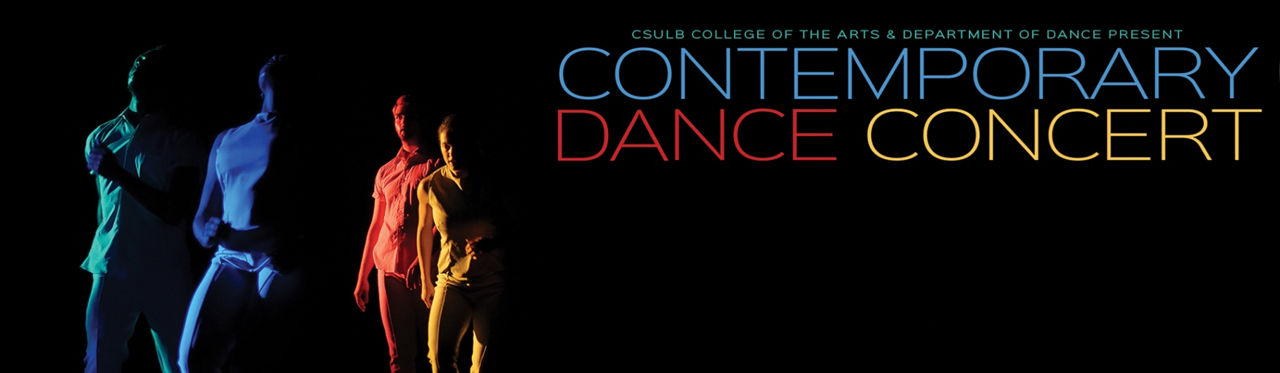 CSULB Dance Contemporary Dance Concert with four dancers in rainbow color