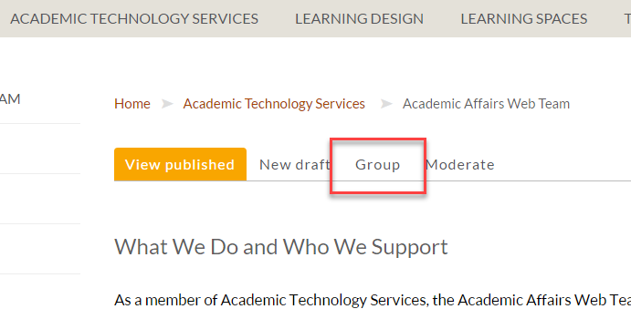 Screenshot depicting the group tab found in the CMS.