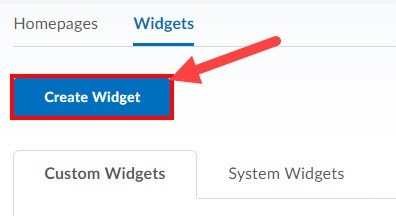 Create Widget button