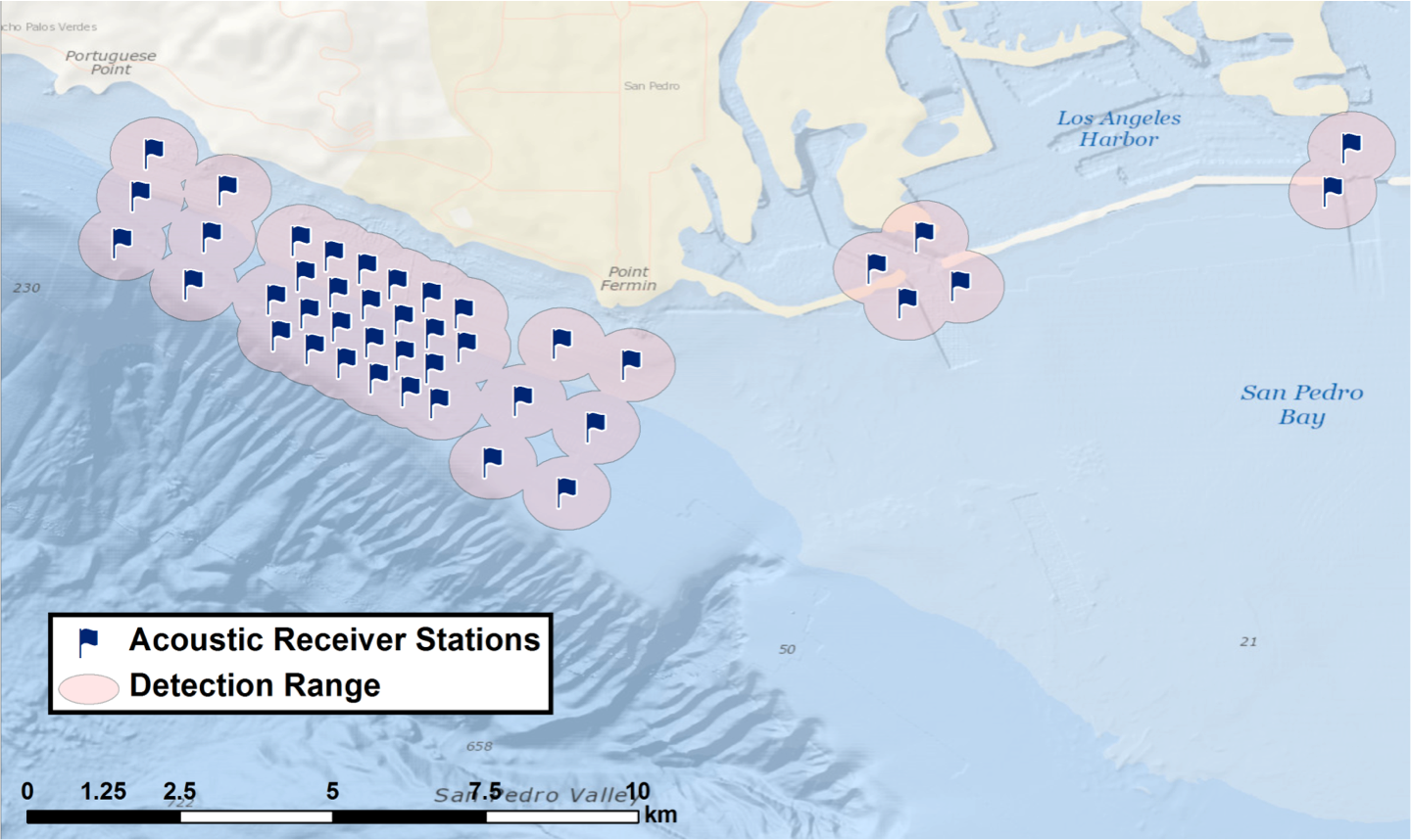 Fig. 4. map of San Pedro bay with acoustic receiver deployment locations