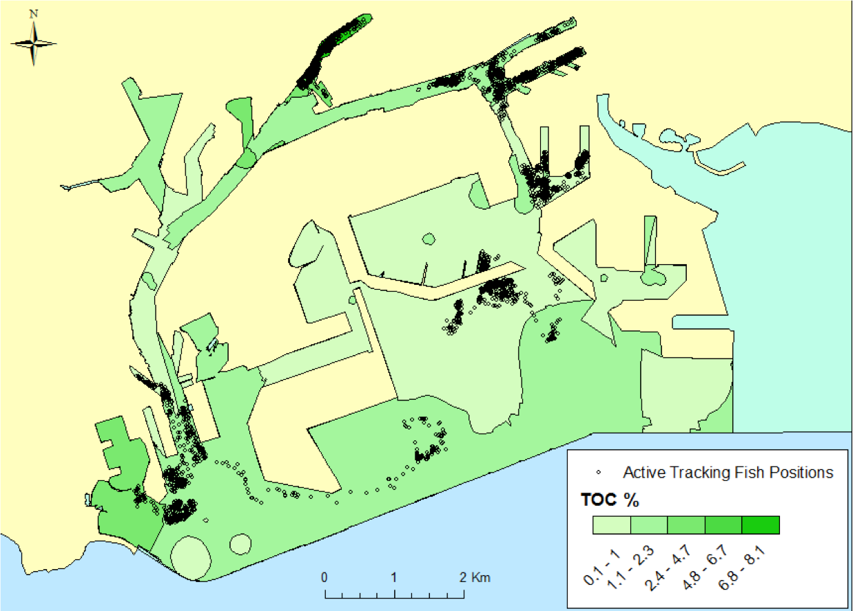 Fig. 14. active tracking locations and high total organic contaminant regions