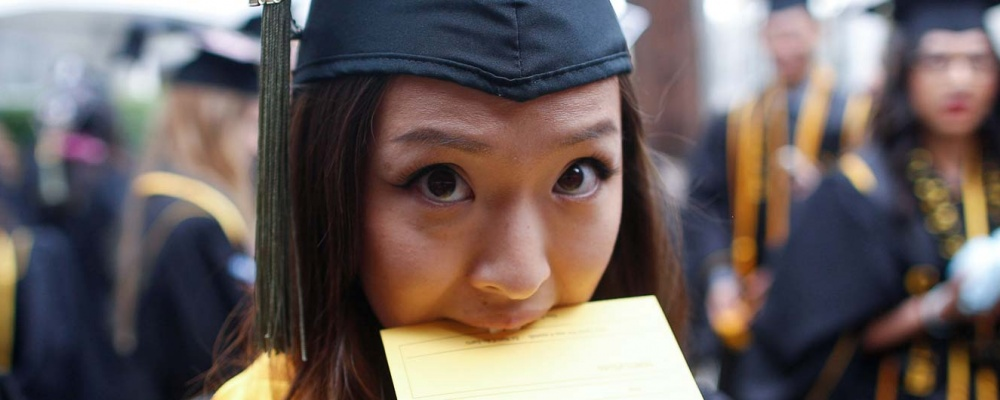 Student at commencement ceremony