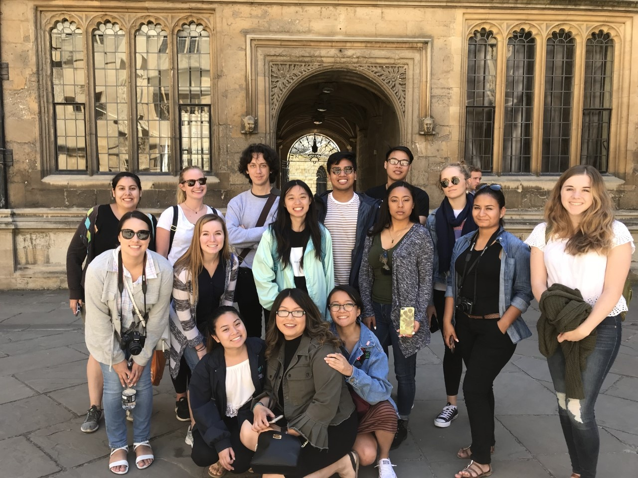 Group Photo of Students in Oxford in front of Church