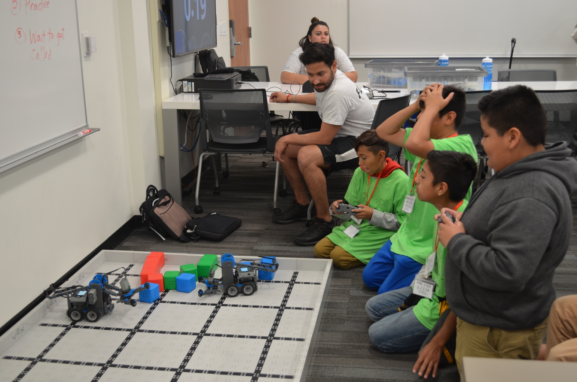 Campers compete with their robots