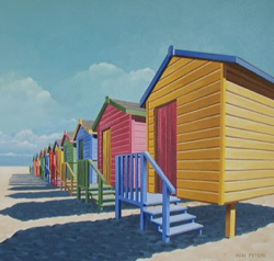 Painting of several colorful beach houses
