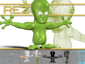 A character design render showing a computer generated image of the previously drawn creature.