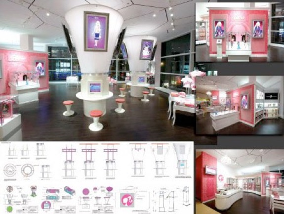 Drawings and interior photos of a Barbie shop.